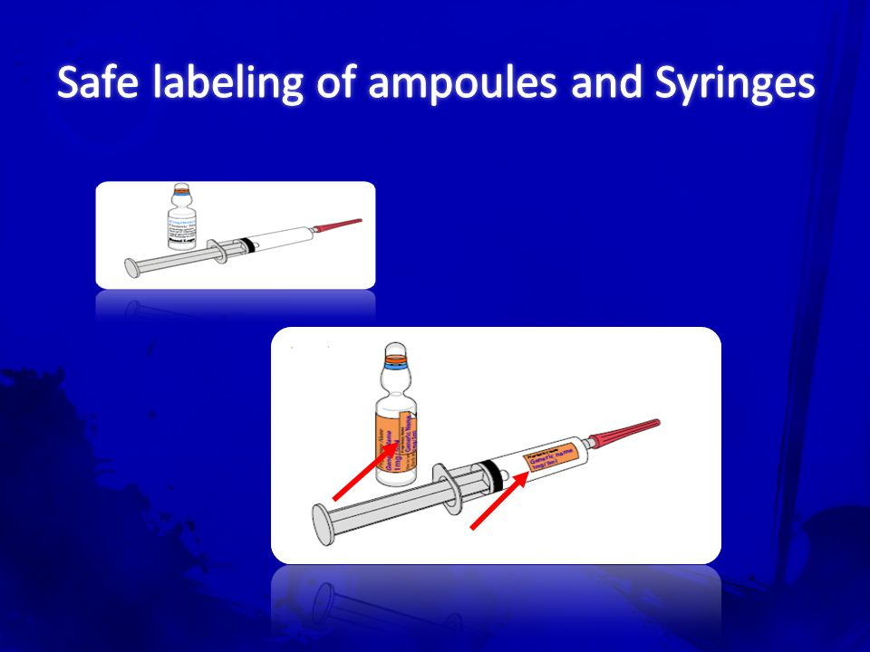 Safe labeling of ampoules and Syringes