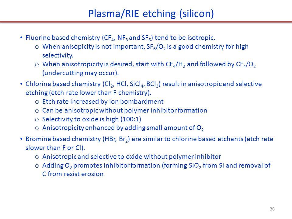 Plasma/RIE etching (silicon)