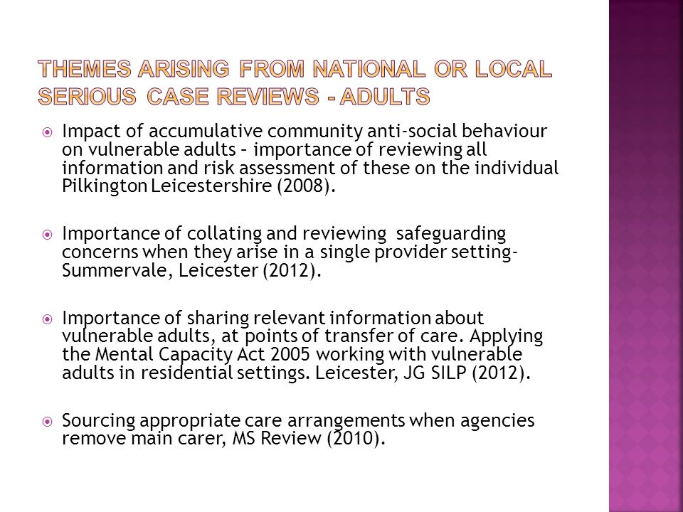 Themes arising from national or local serious case reviews - Adults