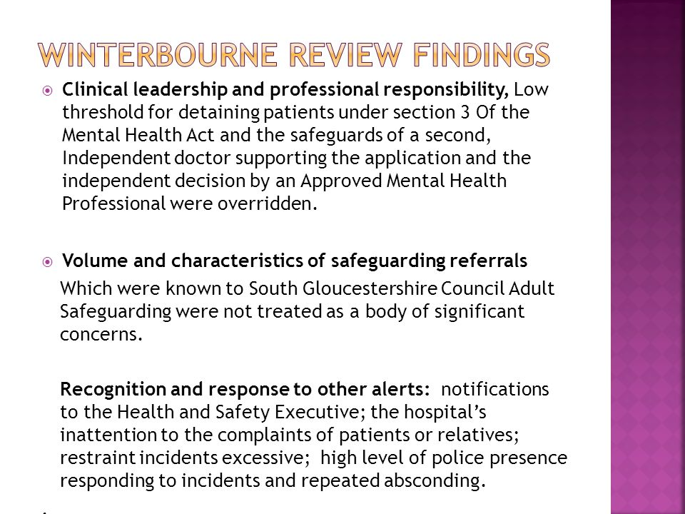 Winterbourne Review findings