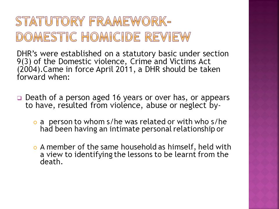 Statutory Framework- Domestic Homicide Review