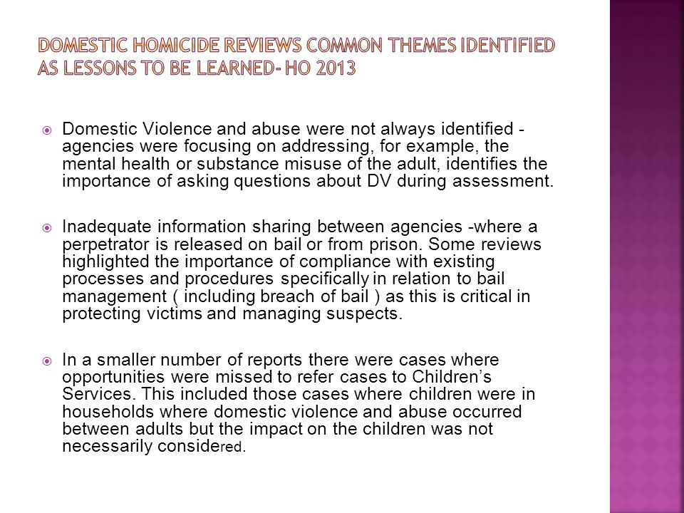Domestic Homicide Reviews Common Themes Identified as Lessons to be Learned- HO 2013