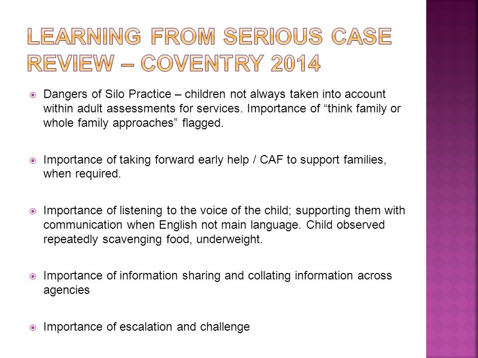 Learning from serious case review – coventry 2014