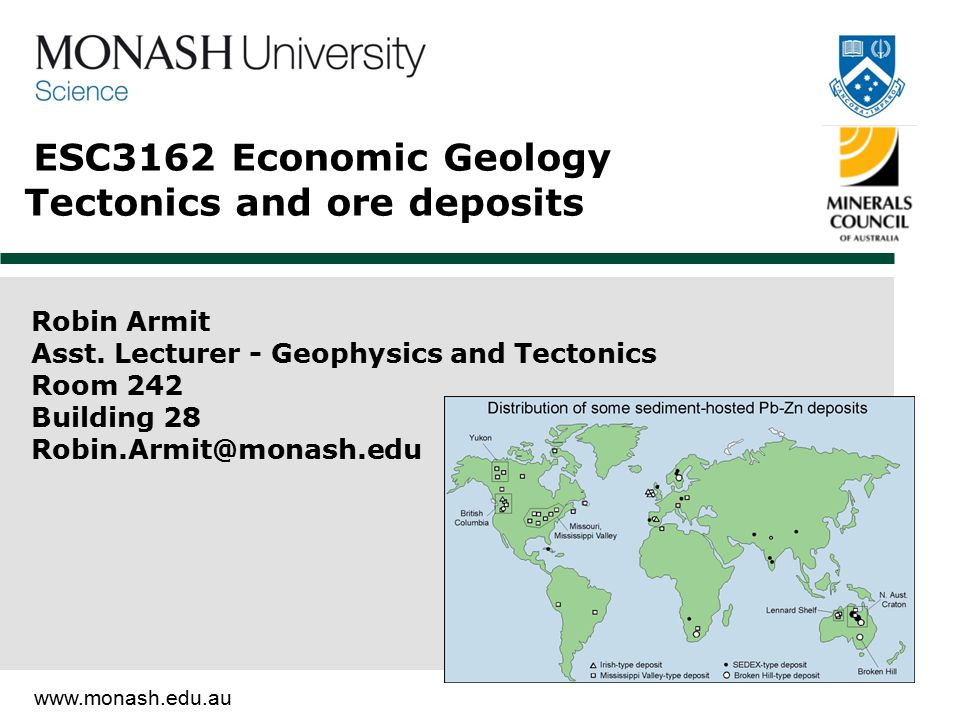 ESC3162 Economic Geology Tectonics and ore deposits