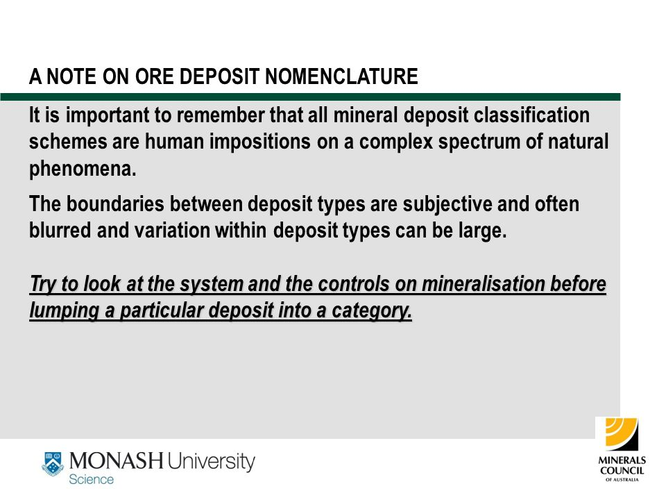 A NOTE ON ORE DEPOSIT NOMENCLATURE