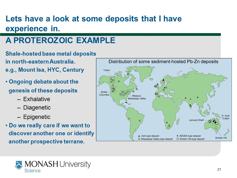 Lets have a look at some deposits that I have experience in.