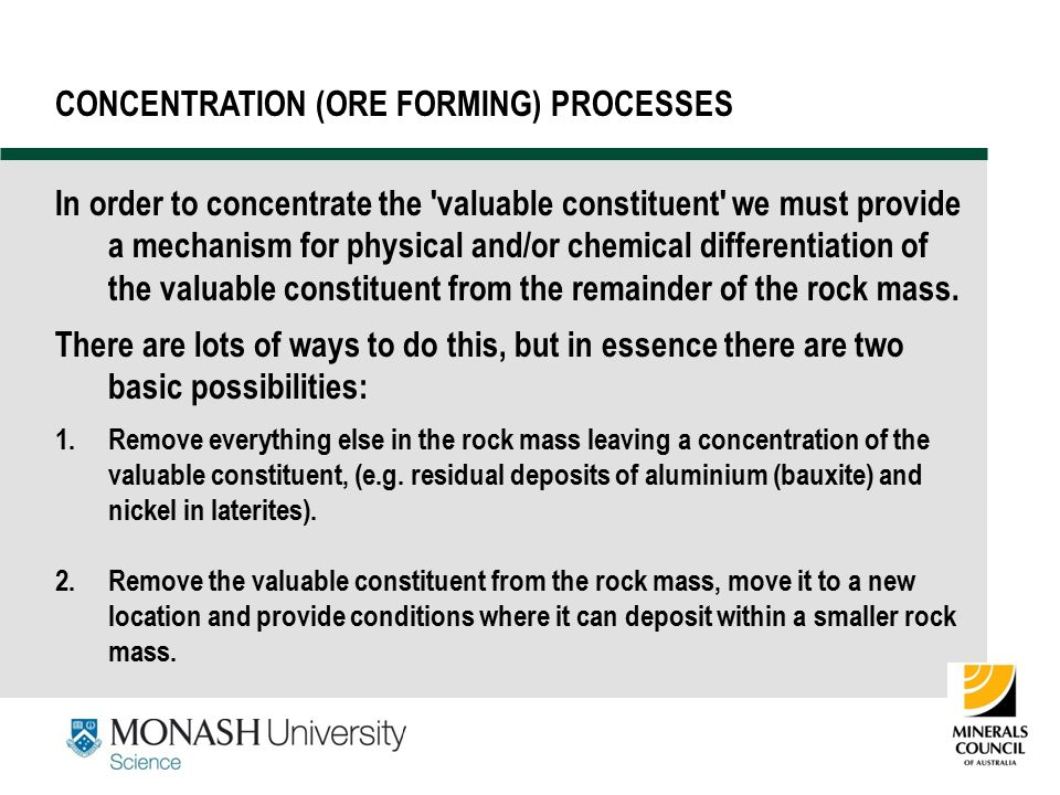CONCENTRATION (ORE FORMING) PROCESSES