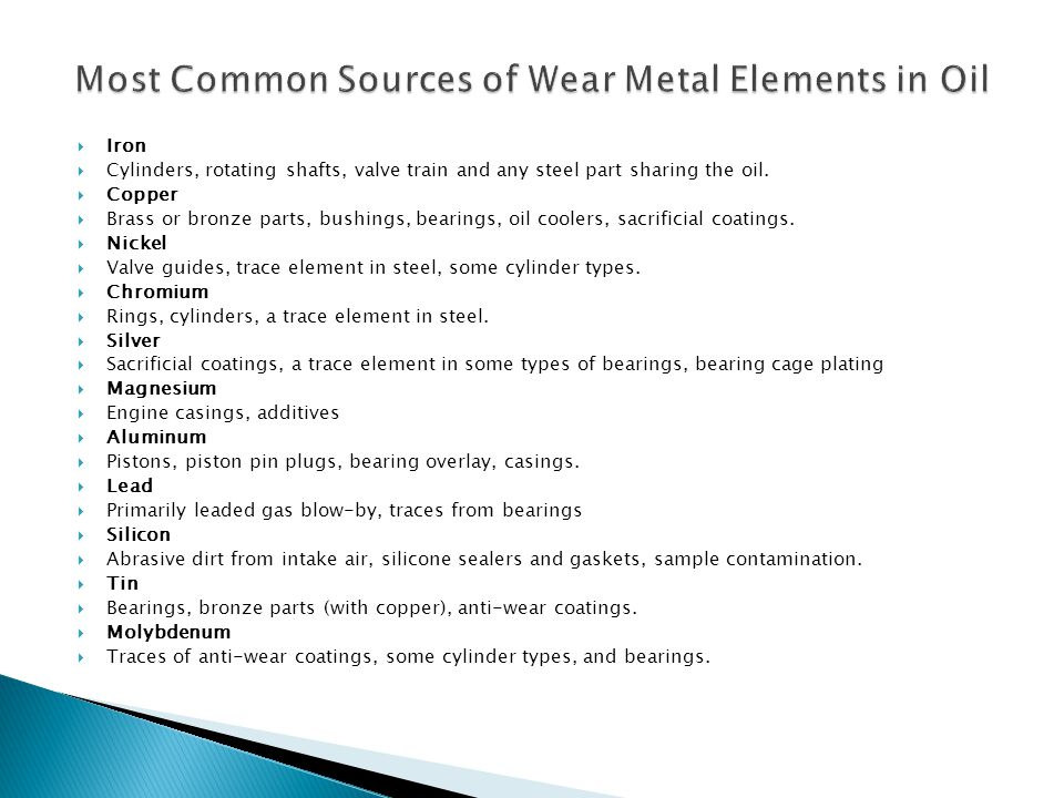 Most Common Sources of Wear Metal Elements in Oil