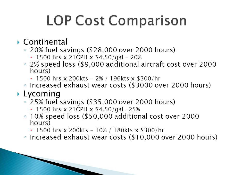 LOP Cost Comparison Continental Lycoming