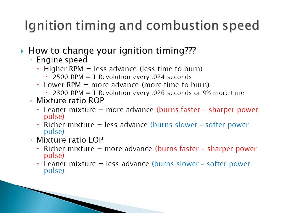 Ignition timing and combustion speed