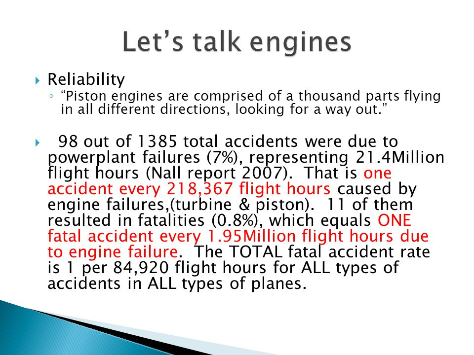 Let's talk engines Reliability