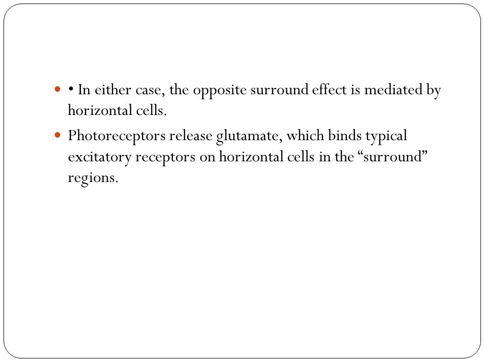 • In either case, the opposite surround effect is mediated by horizontal cells.