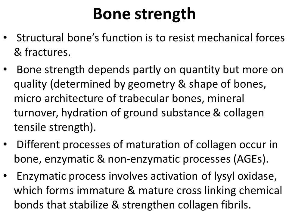 Bone strength Structural bone's function is to resist mechanical forces & fractures.