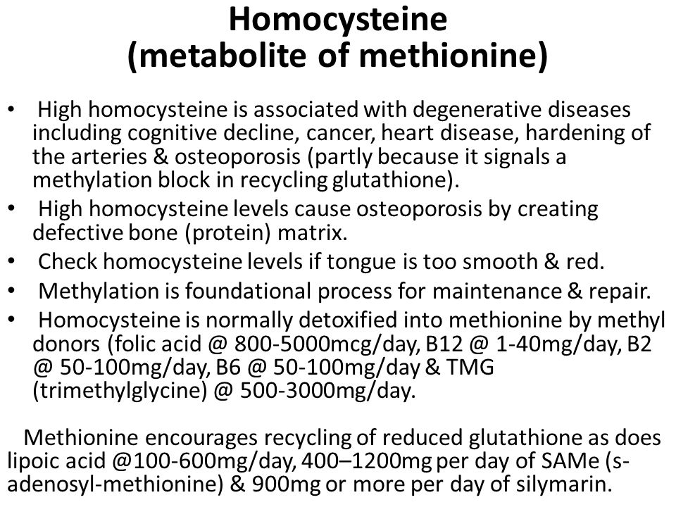 Homocysteine (metabolite of methionine)