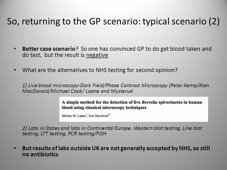 So, returning to the GP scenario: typical scenario (2)