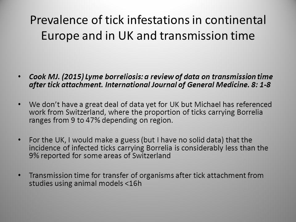 Prevalence of tick infestations in continental Europe and in UK and transmission time