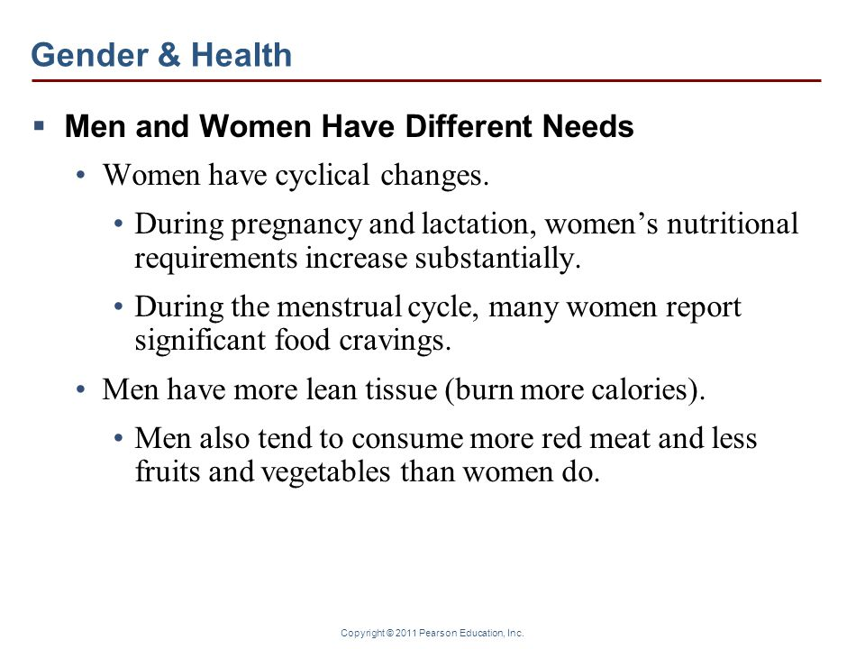 Gender & Health Men and Women Have Different Needs