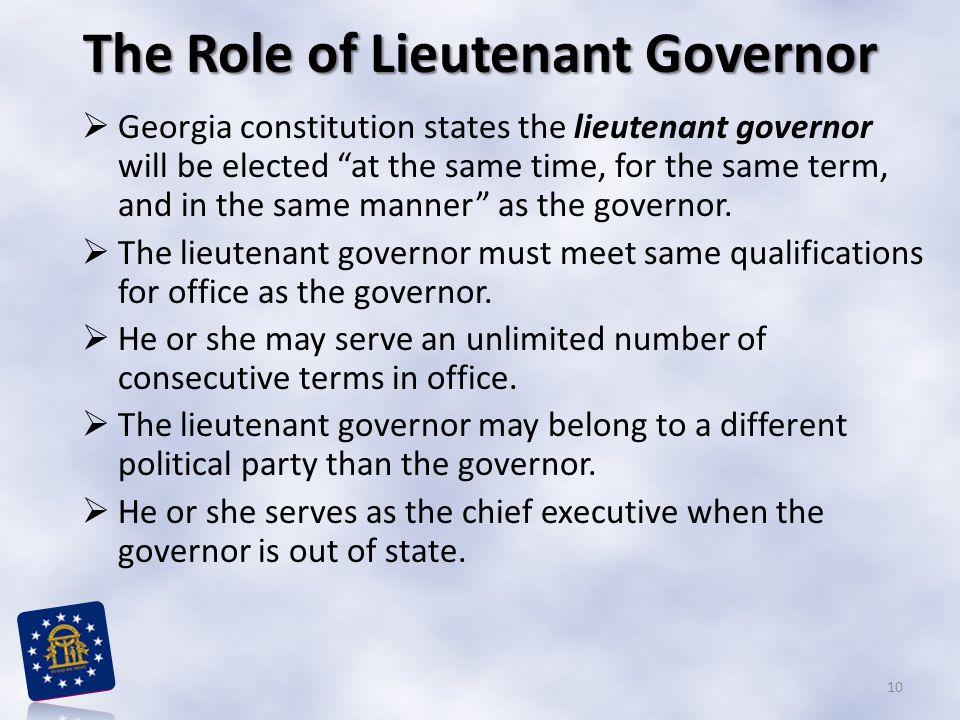 The Role of Lieutenant Governor