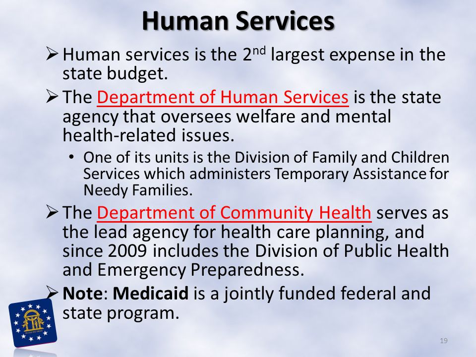 Human Services Human services is the 2nd largest expense in the state budget.