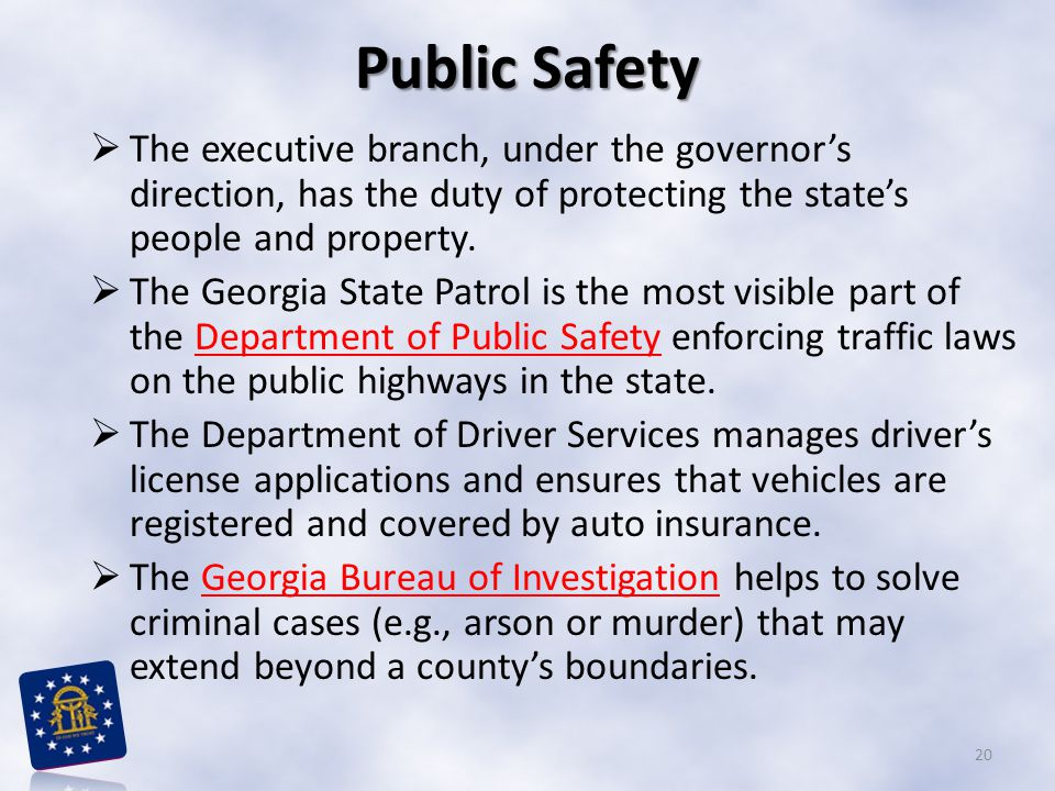 Public Safety The executive branch, under the governor's direction, has the duty of protecting the state's people and property.