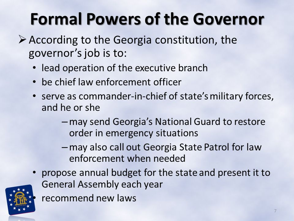 Formal Powers of the Governor