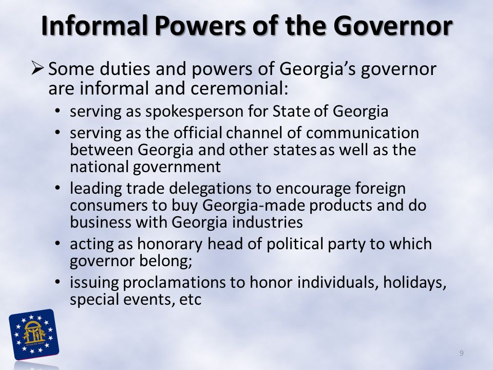 Informal Powers of the Governor