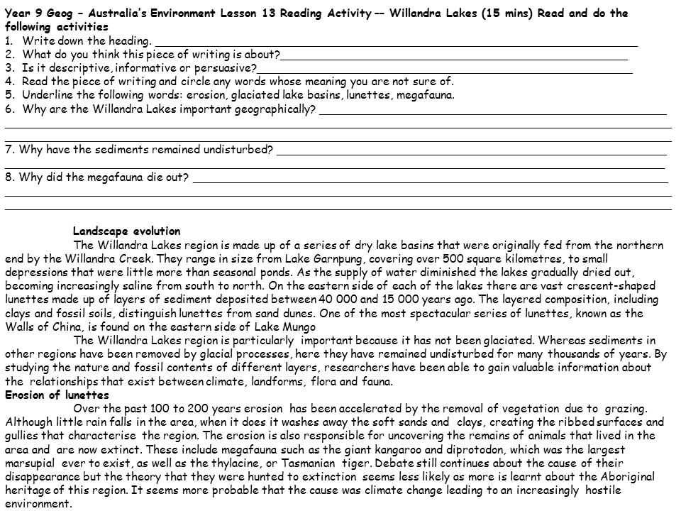 Year 9 Geog – Australia's Environment Lesson 13 Reading Activity –– Willandra Lakes (15 mins) Read and do the following activities