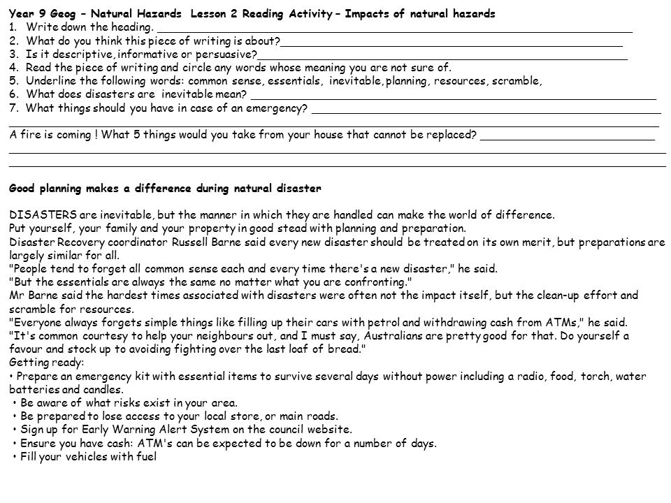 Year 9 Geog – Natural Hazards Lesson 2 Reading Activity – Impacts of natural hazards