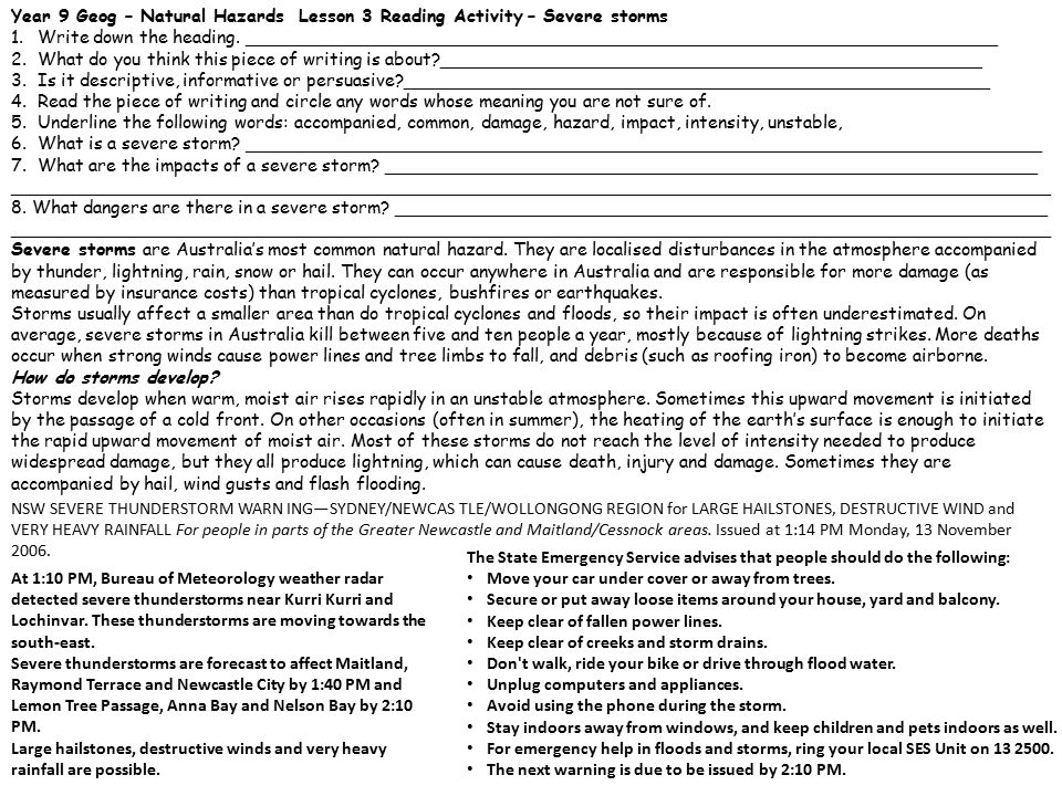 Year 9 Geog – Natural Hazards Lesson 3 Reading Activity – Severe storms