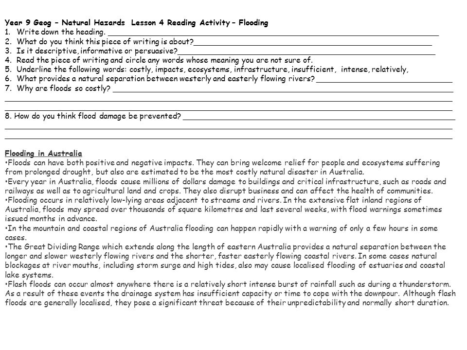 Year 9 Geog – Natural Hazards Lesson 4 Reading Activity – Flooding