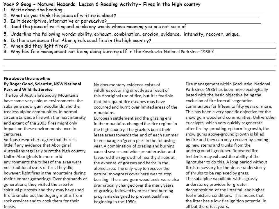 Year 9 Geog – Natural Hazards Lesson 6 Reading Activity – Fires in the High country