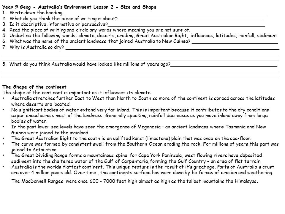 Year 9 Geog - Australia's Environment Lesson 2 - Size and Shape