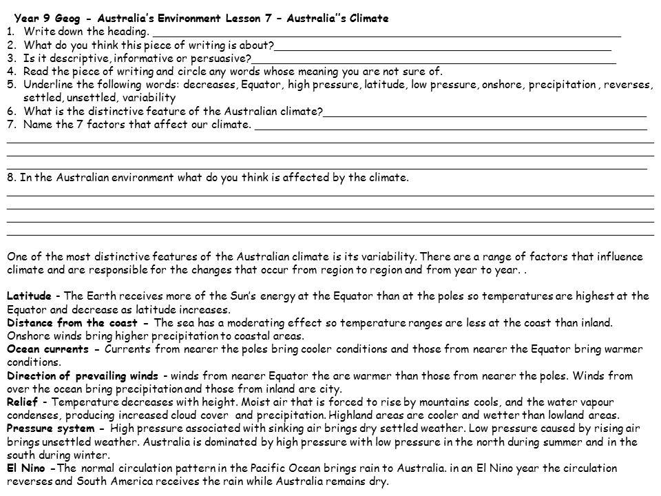 Year 9 Geog - Australia's Environment Lesson 7 – Australia''s Climate