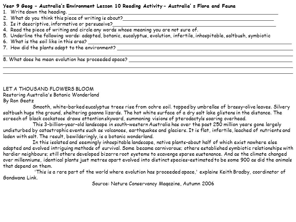 Year 9 Geog – Australia's Environment Lesson 10 Reading Activity – Australia' s Flora and Fauna