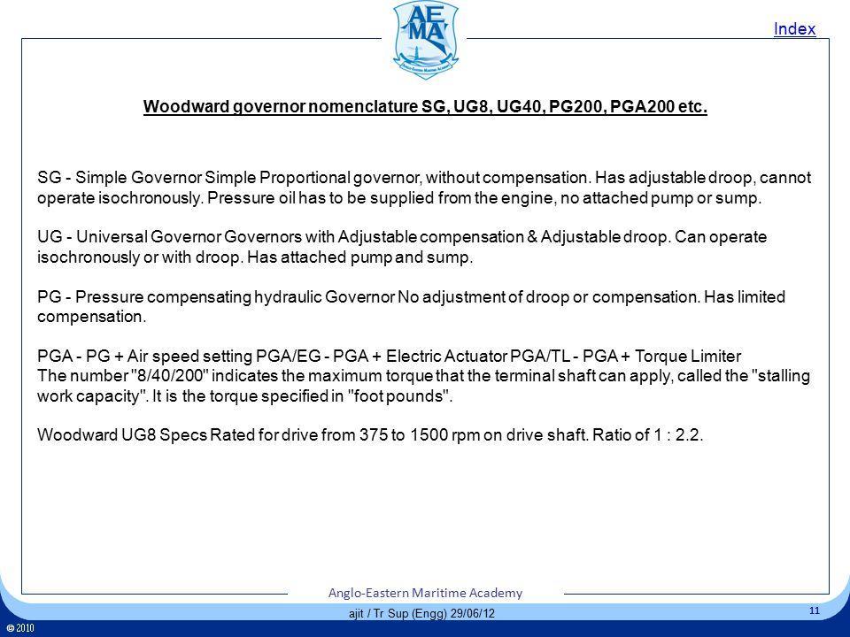 Woodward governor nomenclature SG, UG8, UG40, PG200, PGA200 etc.