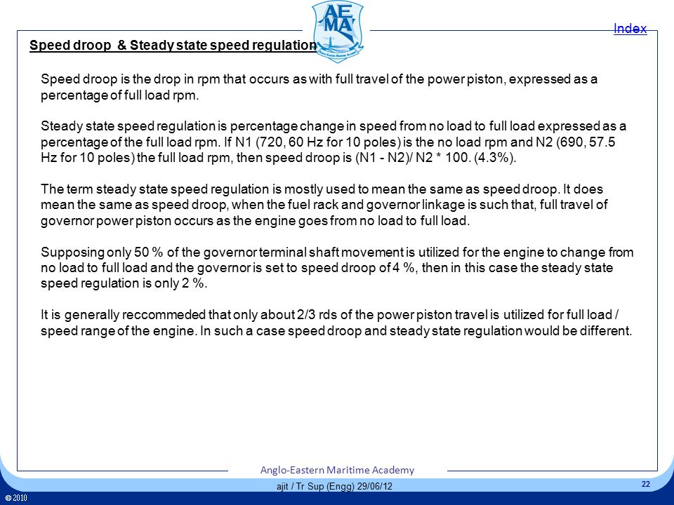 Speed droop & Steady state speed regulation