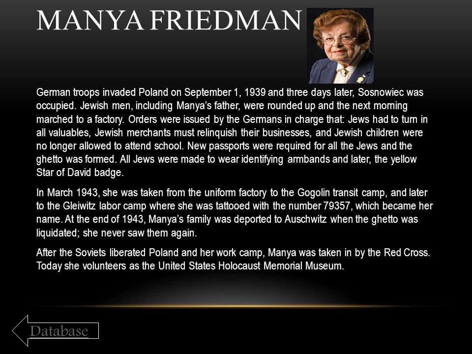 Manya Friedman Database