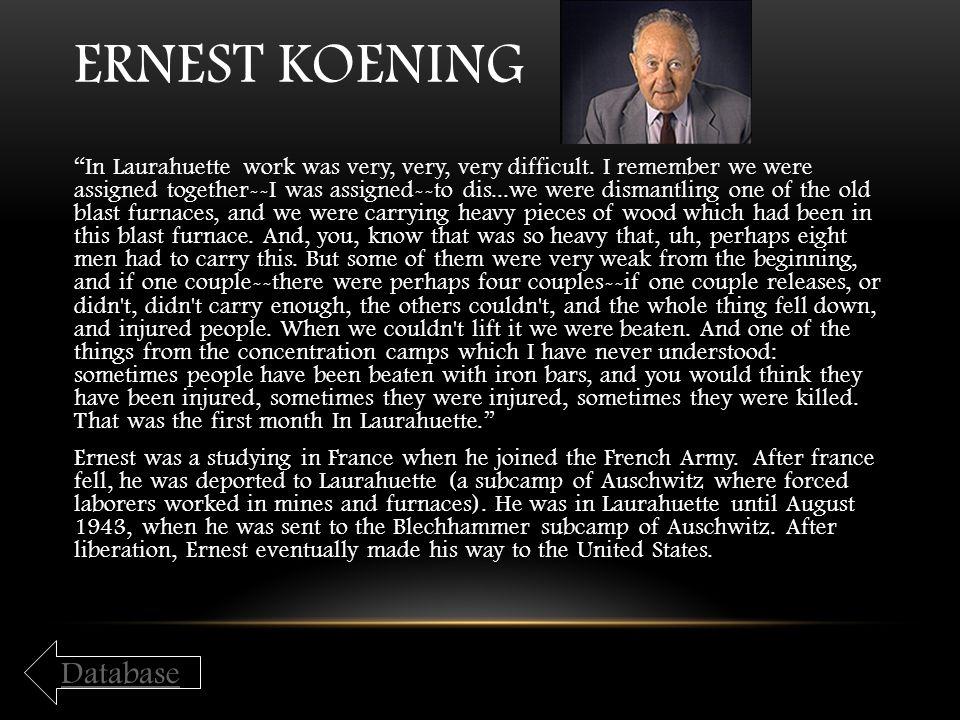 Ernest Koening Database