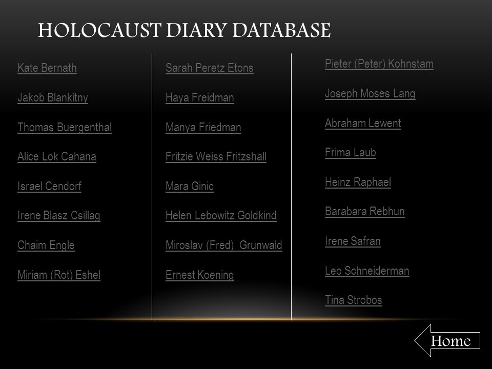 Holocaust Diary Database