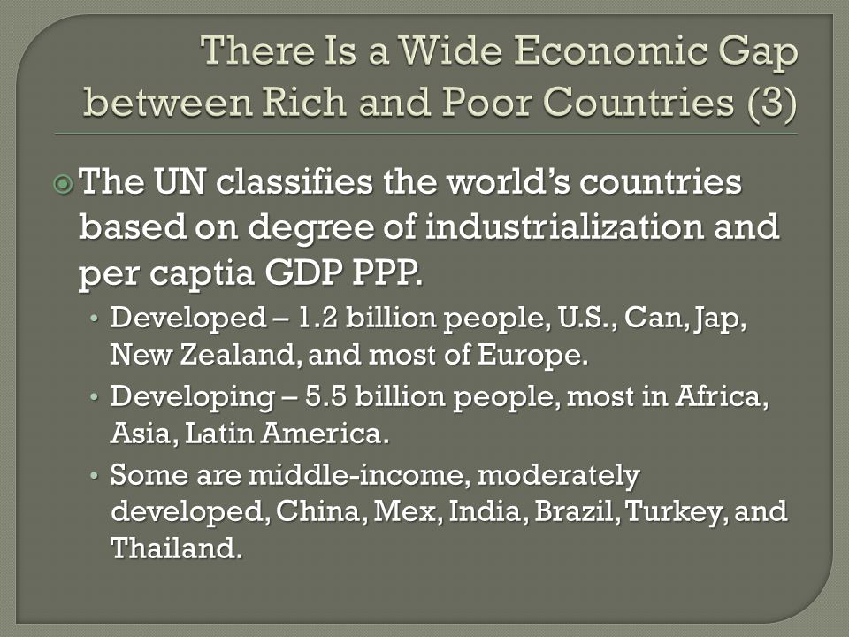 There Is a Wide Economic Gap between Rich and Poor Countries (3)