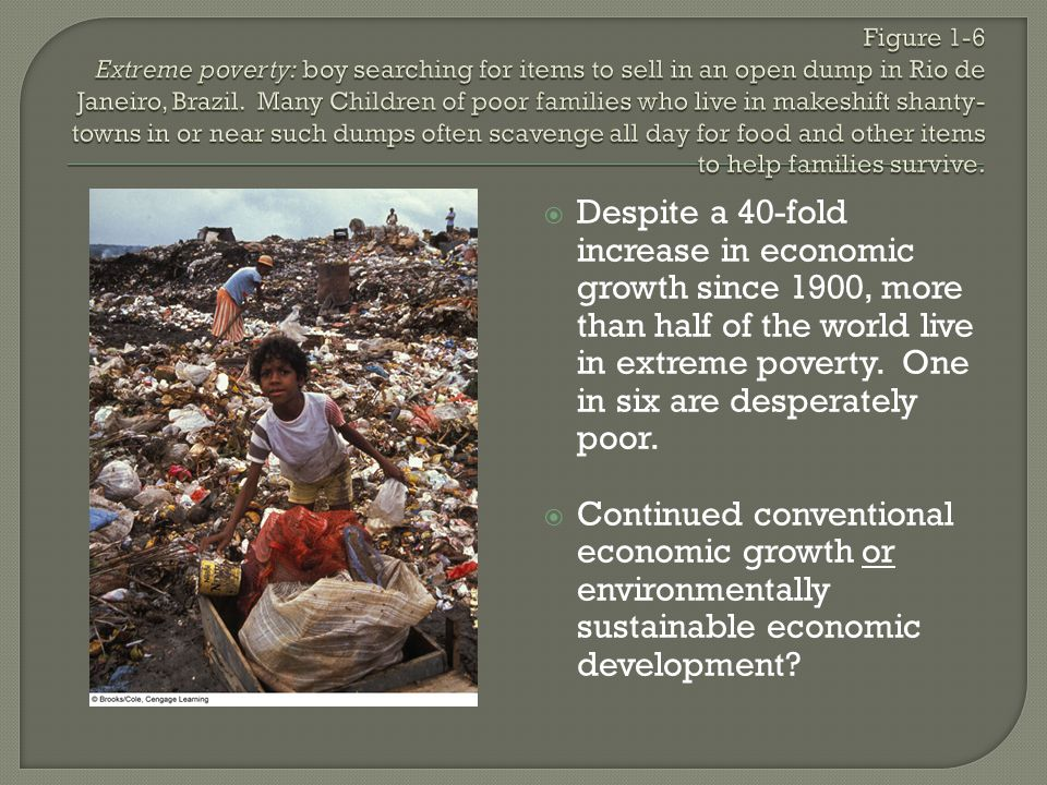 Figure 1-6 Extreme poverty: boy searching for items to sell in an open dump in Rio de Janeiro, Brazil. Many Children of poor families who live in makeshift shanty-towns in or near such dumps often scavenge all day for food and other items to help families survive.