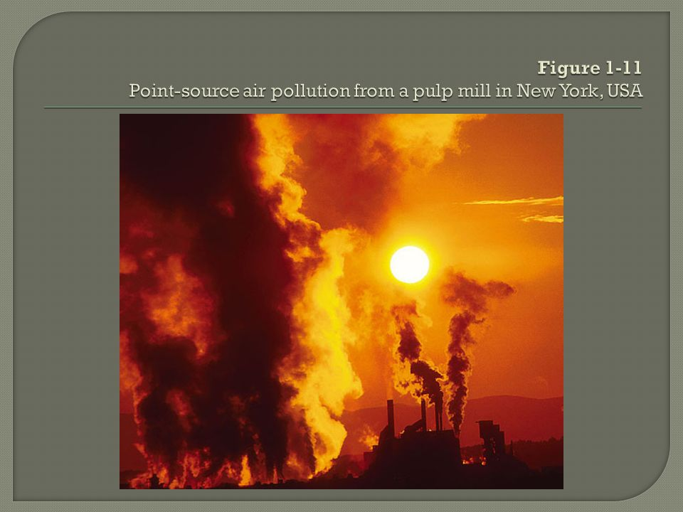 Figure 1-11 Point-source air pollution from a pulp mill in New York, USA