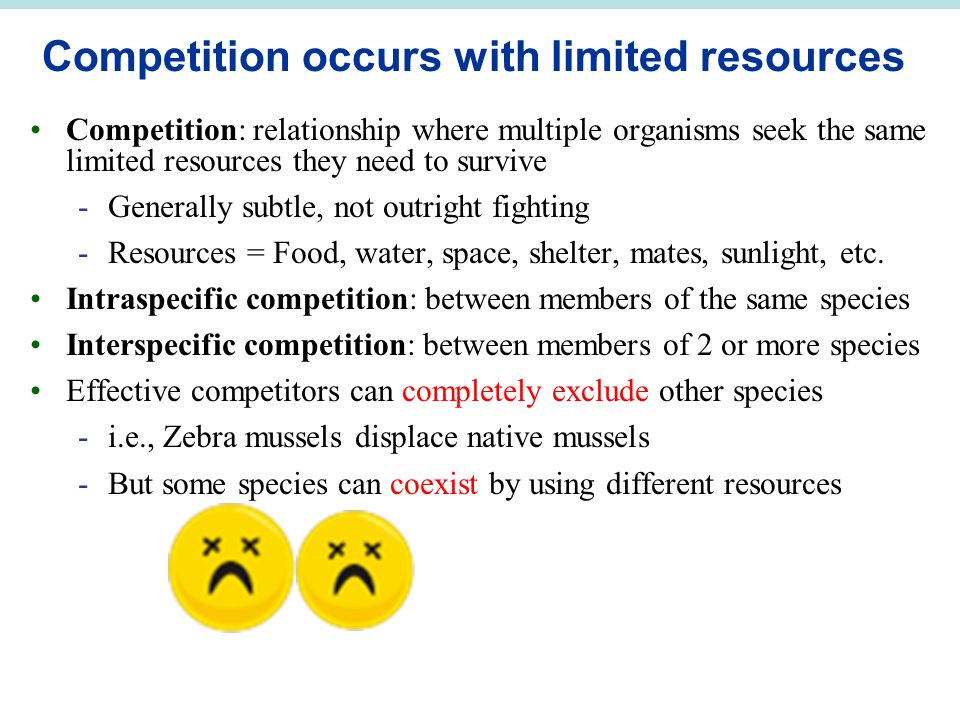 Competition occurs with limited resources