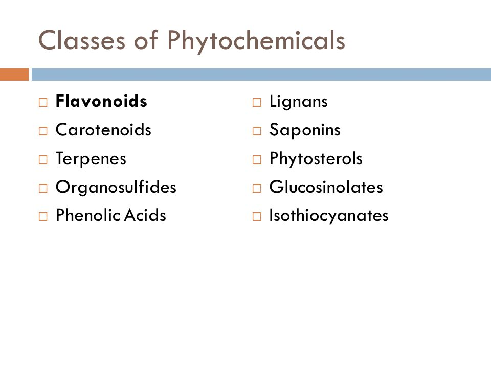 Classes of Phytochemicals