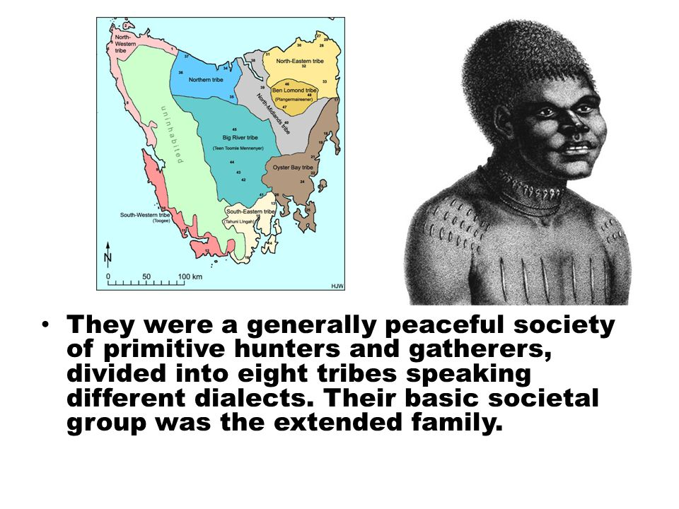 They were a generally peaceful society of primitive hunters and gatherers, divided into eight tribes speaking different dialects.