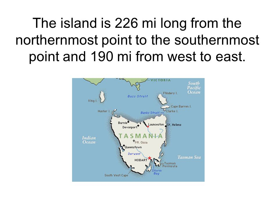 The island is 226 mi long from the northernmost point to the southernmost point and 190 mi from west to east.