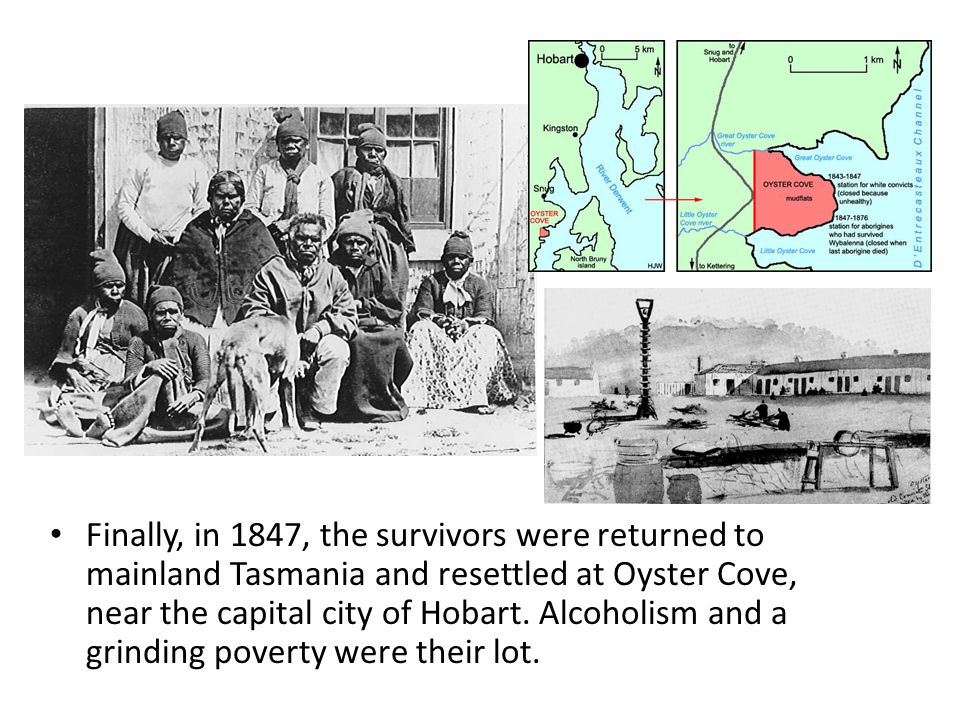 Finally, in 1847, the survivors were returned to mainland Tasmania and resettled at Oyster Cove, near the capital city of Hobart.