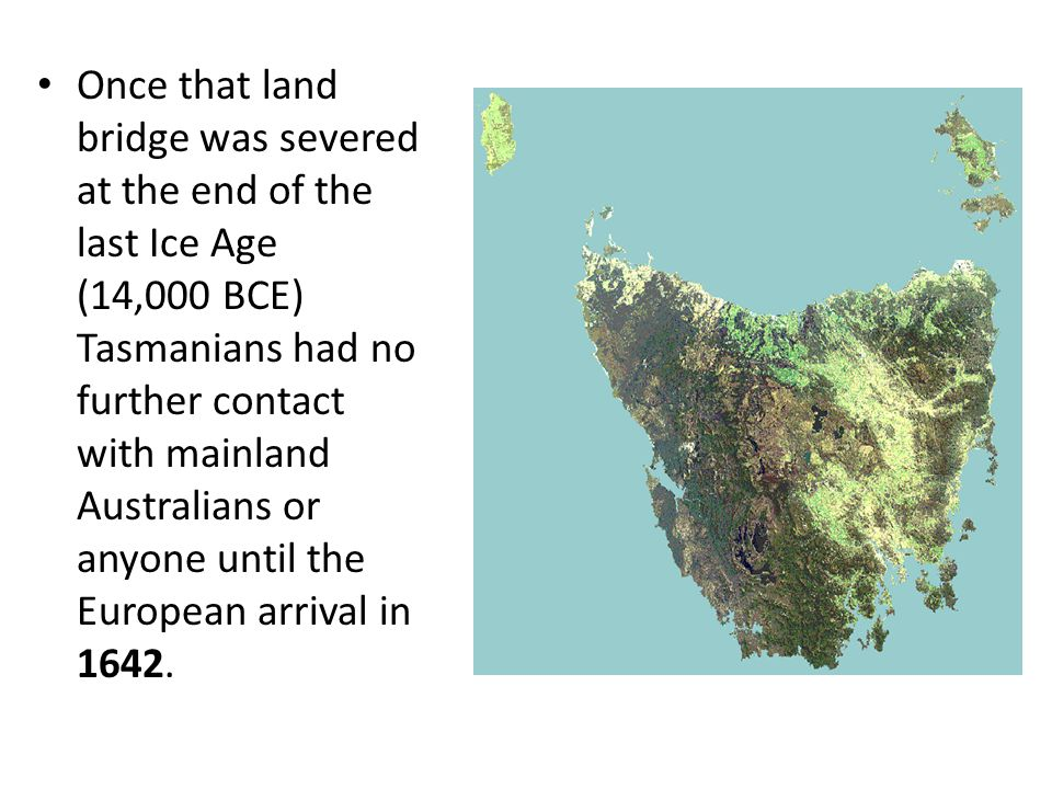 Once that land bridge was severed at the end of the last Ice Age (14,000 BCE) Tasmanians had no further contact with mainland Australians or anyone until the European arrival in 1642.