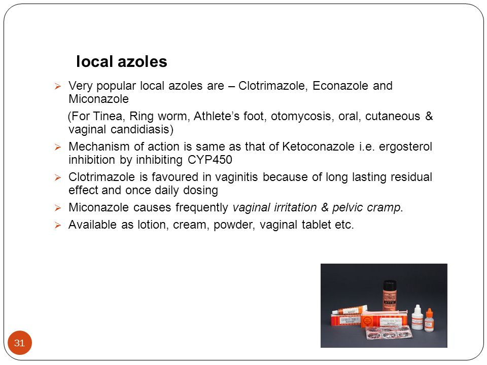 local azoles Very popular local azoles are – Clotrimazole, Econazole and Miconazole.