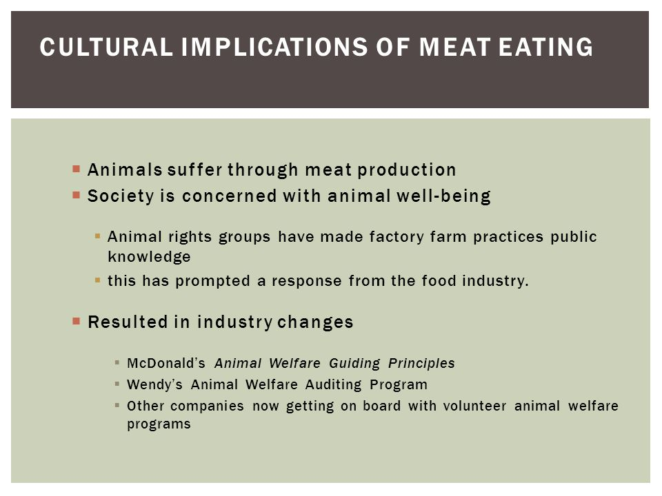 Cultural implications of meat eating